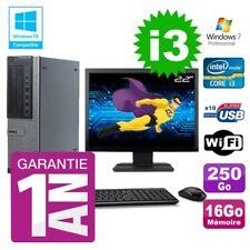 """PC Dell 790 DT Intel I3-2120 16Go Disque 250Go Graveur Wifi W7 Ecran 22"""""""