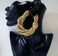 HUGE 8cm Gold metal twisted creole style BIG hoop earrings - Chunky - Puffed up