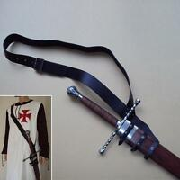 Black Leather Adjustable Baldric. Perfect Item For Re-enactment, Stage Or LARP