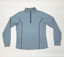LYLE & SCOTT Golf Jumper 1/4 Zip Funnel Neck Blue Cotton Medium Women's