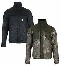 Crosshatch Men's Quilted Jacket S M L XL Claythorpe Black & Camo Green