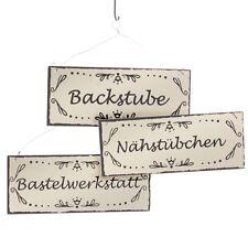 3 Stück Holzschilder im Antik Schilder Schild Blechschild Backstube Werkstatt