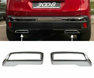Set Chrom Auspuffblende Abdeckung Rahmen ABS für Peugeot 3008 5008 II Citroen C5