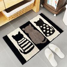 Flocked Entrance Mats Cat Print Black White Bathroom Absorbent Non-slip Foot Pad
