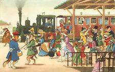 MARCEL SCHURMANN ANTHROPOMORPHIC DOGS @ BUSY TRAIN STATION #9 1964 POSTCARD