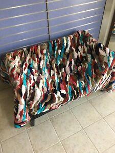 Luxury Multicolor Rex Rabbit Fur Throw 100% Real Rex Fur Bedspread / Blanket