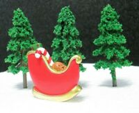 Christmas Cake Decorations - Fir Tree's x 3 and Red Sleigh