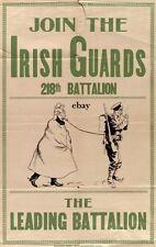 WW1 RECRUITIN POSTER 218TH BN CANADIAN IRISH GUARDS NEW A4 PRINT EDMONTON CANADA