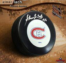 ELMER LACH Signed Montreal Canadiens Puck