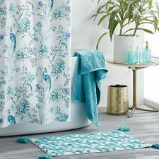 Watercolor Peacock Shower Curtain - Teal