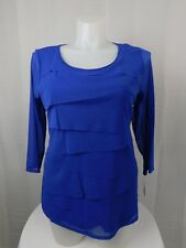 Alfani Plus Size 3/4 Sleeve Layered Ruffle Mesh Top 1X Bon Soir Blue #6449