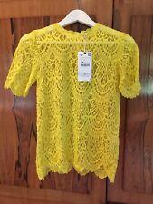 Zara Yellow Cotton Lace Top Blouse, Size S-BNWT