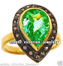 Vintage Estate 0.41Cts Pave Rose cut Diamond Emerald Studded Silver Ring Jewelry