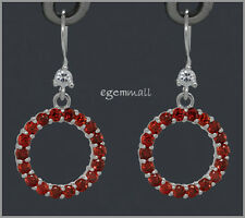 Sterling Silver Circle Donut Earrings CZ Garnet #65303