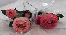 LOT OF 9 STEMS FRESH TOUCH ROSES X3~6/LT. PINK 3/DK. PINK FLOWERS SILK*BEAUTIFUL