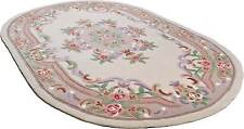 LARGE LIGHT BEIGE CHINESE AUBUSSON HAND TUFTED RUGS IN Oval 9'.6'' X 6'.3''