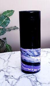 Black and Purple Vase/Purple Glass Vase Hand Painted