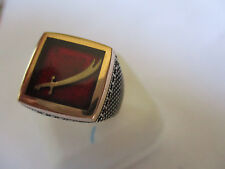 Gorgeous Style Islamic ring for men and Silver & Bronze red square shape sz 11