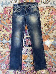 takeshy kurosawa jeans, mens, vintage wash, slim straight leg, button fly, 33x34