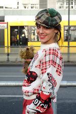 Schotten Mütze Hut Wolle Mütze 60s Ballonmütze mit Bommel GR 55 True Vintage cap