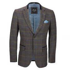 Mens Herringbone Tweed Check Blazer Vintage Tailored Fit Smart DESIGNER Jacket Chest UK 50 EU 60 Ash Brown