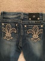 Miss Me Signature Boot Jeans Size 25 x 33 leather Fleur De Lis JP5922B