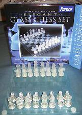 GLAS SCHAAKSPEL GLASS CHESS ECHEC EN VERRE SCHACHSPIEL nieuw new nouveau 20X20CM