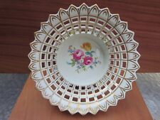 """Vintage Dresden Reticulated Bowl Hand Painted Applied Flowers 8.75"""""""