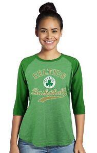 NBA Boston Celtics Thomas Women's Triblend 3/4 Sleeve Raglan, Large, Kly Green