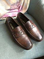 Prada Mens Brown Leather Penny Loafers Shoes  - Size US 9.5 / UK 8.5