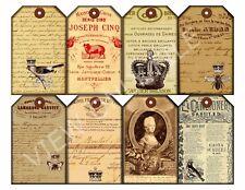 8 French Ephemera Vintage Gift/Hang Tags Scrapbooking Paper Crafts (101)