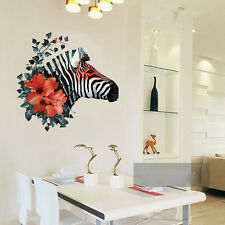 Zebra Red Flower Wall Sticker Decal Mural Art Vinyl Removable Home Office Decor