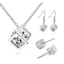 Yellow Gold Filled Crystal Cube Necklace Hook Stud Earrings Set Women's Jewelry