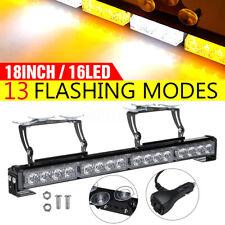 12V 18'' 16LED Emergency Warning Strobe Light Bar Traffic Amber White Flashing
