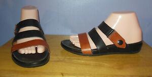 FitFlop Gladdie Black & Brown Leather Sandals! SUPERCOMFF Women's Size 7