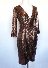 Aqua Bronze Sequined Party Cocktail Wrap Dress XS Retails $148 Price $65