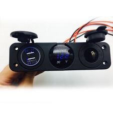 Car Boat 3 Hole Panel Dual USB Charger Voltmeter 12V Socket Waterproof 4 Gang
