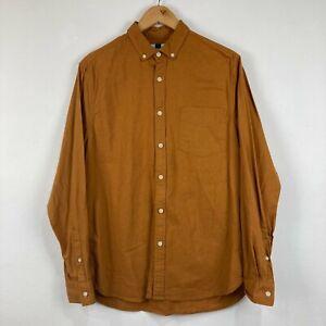 Topman Mens Button Up Shirt Size M Medium Brown Long Sleeve Collared