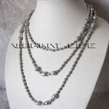 """60"""" 3-9mm Silver Gray Rice Freshwater Pearl Necklace Strand Jewelry U"""