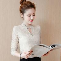 Autumn Winter Women Lace Crochet Long Sleeve Slim Basic T Shirt Blouse Tops Plus