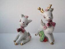 Pair Two Porcelain Whimsical Reindeer from Japan  Vintage Mid-Century