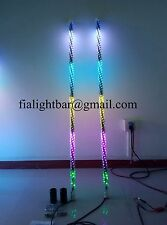 Pair 3ft Spiral Wrapped LED Whip Lights Dream Color Quick Connect Sandy Toys