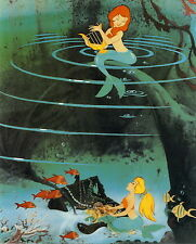 Vintage art Print Disney Peter Pan Character Mermaid Lagoon Lute Treasure Chest