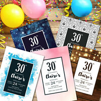 18th 21st 30th 40th 50th 60th Personalised Cards Invites, party invitations