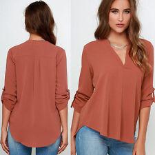 Hip Length Cotton Blend V Neck Blouses for Women