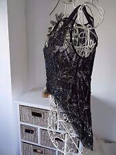 Asos black beaded mesh top festival clubbing uk size 10 -new