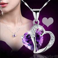 Women Heart Crystal Rhinestone Silver Chain Pendant Necklace Jewelry Gift