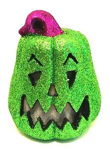 "Halloween Glitter Jack-o-Lantern Green LED Sound Activated Pumpkin 8"" Tall"