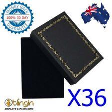 X36 A-GRADE Solid Black N Gold Cardboard Jewellery SET GIFT BOX, 70X97X27mm - AU