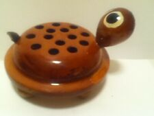 Vintage Hand Carved Wood Turtle With Holes Made In Guatemala